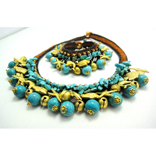 WNK International Turquoise and Brass Beads Necklace and Bracelet Set