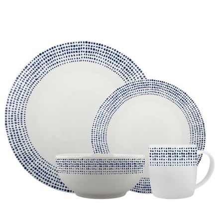 Melange Coupe 32 Piece Porcelain Dinner Set | Blue Dots Collection | Service for 8 | Microwave, Dishwasher & Oven Safe | Dinner Plate, Salad Plate, Soup Bowl & Mug (8 Each) ()