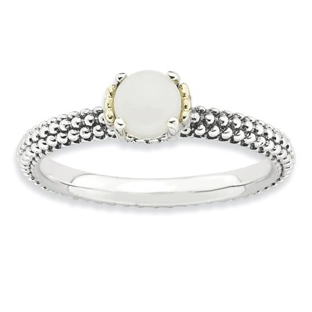 925 Sterling Silver 14kt White Agate Band Ring Size 5.00 Stone Stackable Gemstone Natural Fine Jewelry Ideal Gifts For Women Gift Set From Heart