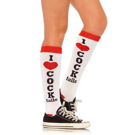 Love Knee Socks (Women's I Love Cocktails Knee Socks, One Size)