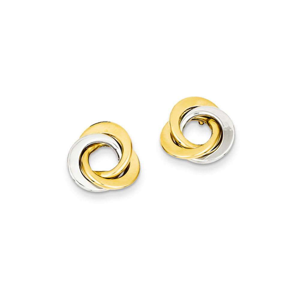 13mm two tone knots post earrings in 14 karat gold