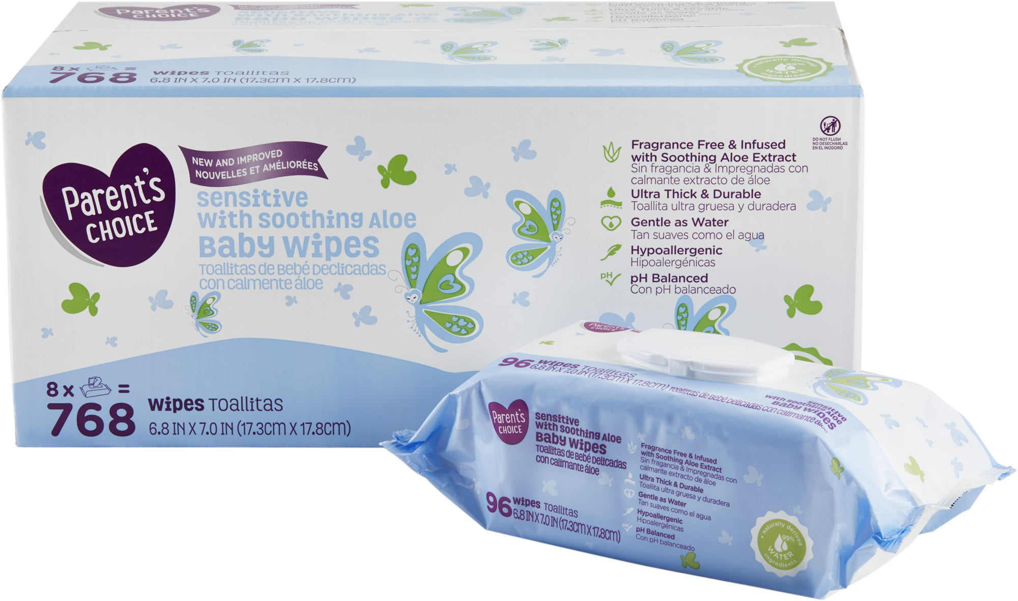 Parent's Choice Baby Wipes, Sensitive Aloe, 8 packs of 96 (768 ct) by Parent%27s Choice
