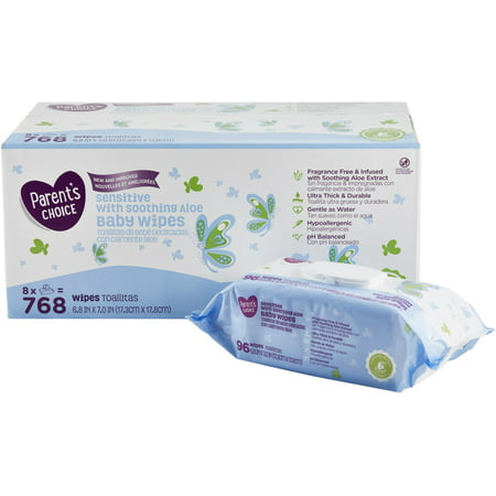 Parent's Choice Sensitive with Soothing Aloe Baby Wipes, 8 packs of 96 (768 count) Dots Baby Wipe Case