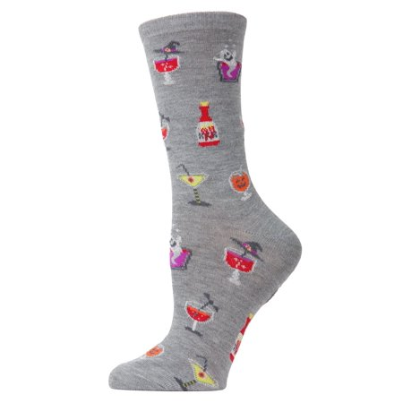 MeMoi Halloween Potion Commotion Crew Socks | Novelty Socks One Size 9-11 / Med Gray Heather MF7 951 - Halloween 911