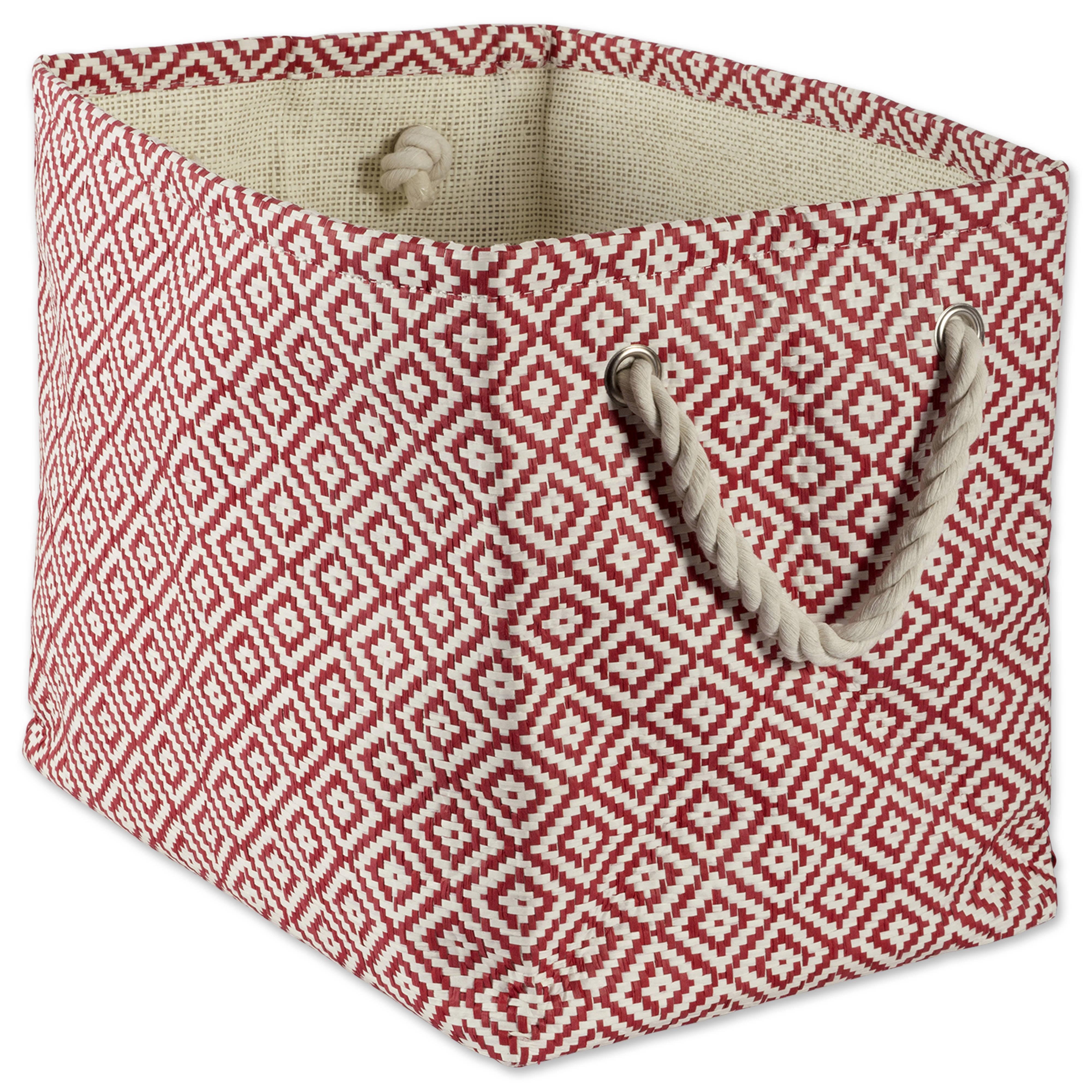 "Design Imports Paper Bin Geo Diamond Rust Rectangle Small, 11""x10""x9"", 100% Natural Woven Paper, Red"