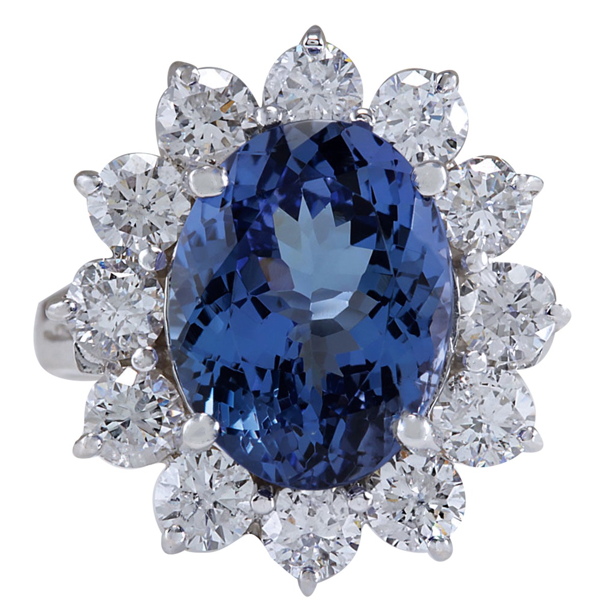 6.35CTW Natural Blue Tanzanite And Diamond Ring In 14K White Gold by