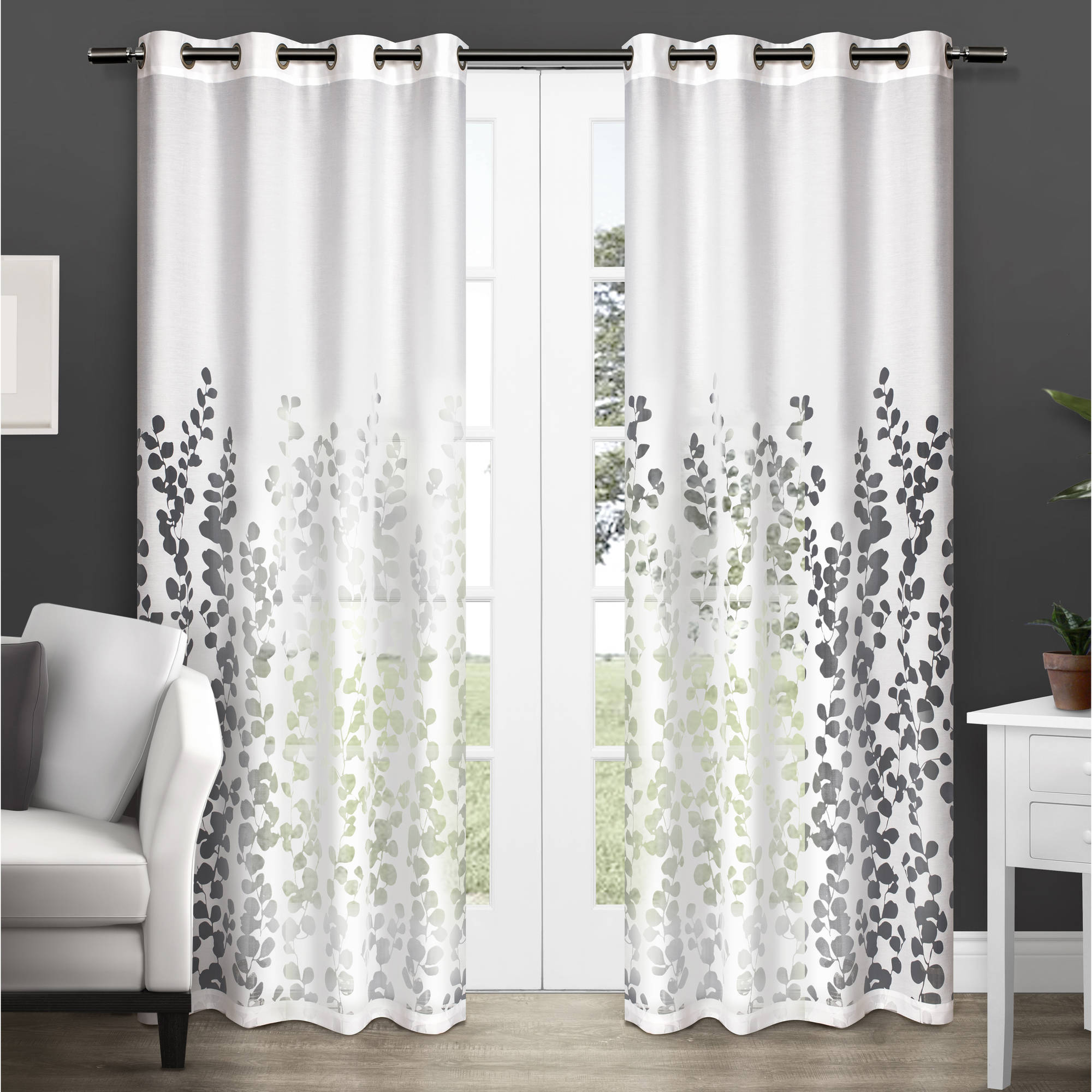 "Exclusive Home Wilshire Burnout Sheer Grommet Top Window Curtain Panels 54"" x 96\ by Exclusive Home"