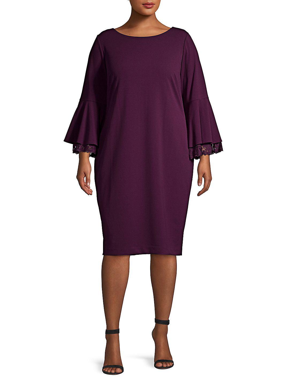 Plus Bell-Sleeve Sheath Dress