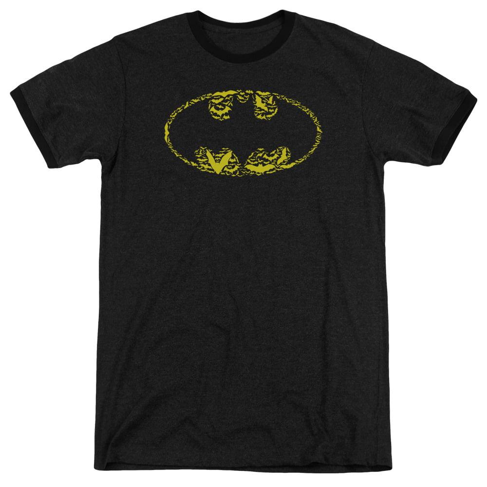 Batman Bats On Bats Mens Adult Heather Ringer Shirt