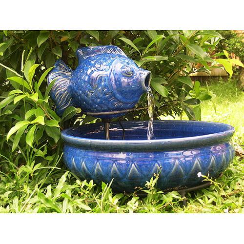 Smart Solar Koi Fish Solar Outdoor Birdbath Fountain by STI GROUP INC