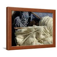 Knitting Needles and Handspun Wool Yarn at a Yorktown Reenactment, Virginia Framed Print Wall Art