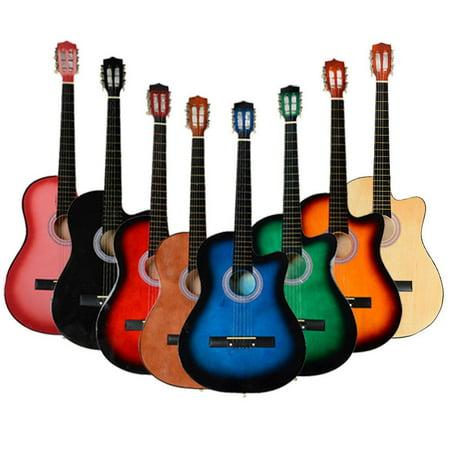 Ktaxon 38 Inch Cutaway Acoustic Guitar Set for Beginner Multi-colors (Red And Black Guitar)