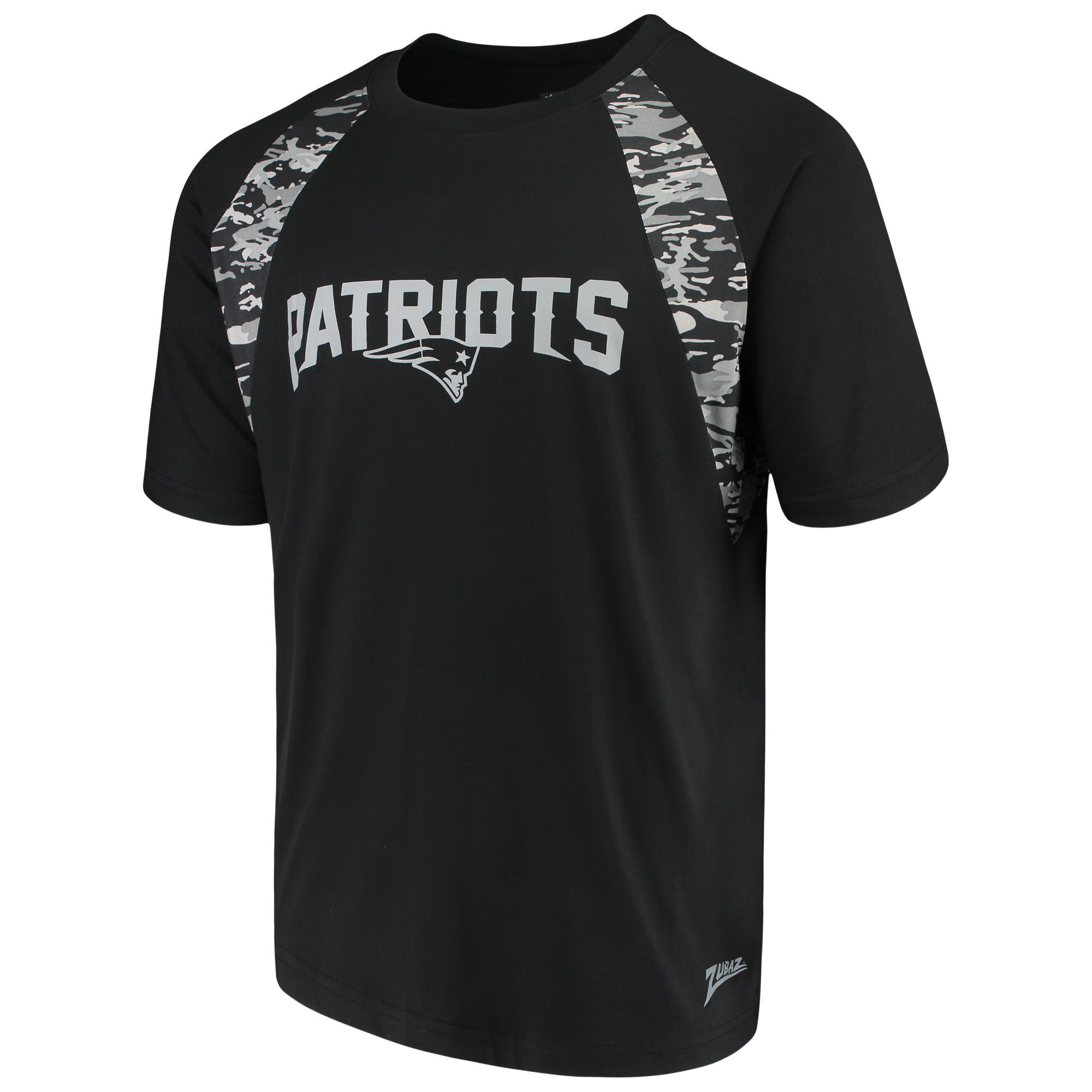 Men's Zubaz Black New England Patriots Camo Raglan T-Shirt