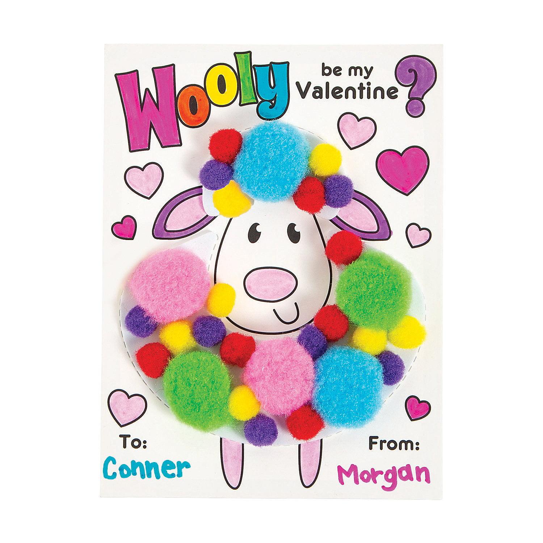 wooly pom pom valentine cards 12  craft kits  12 pieces