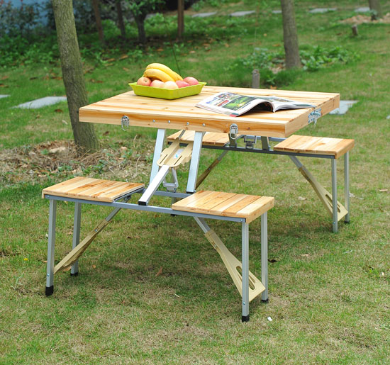 Outsunny Portable Outdoor Camp Suitcase Folding Picnic Table W/ 4 Seats    Walmart.com