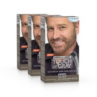 Just For Men Touch Of Gray Mustache & Beard, Easy Brush-In Facial Hair Color Gel, Light and Medium Brown, Shade B-25/35 (Pack of 3)