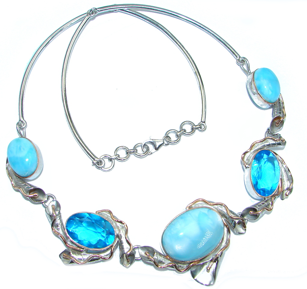 Natural Blue Larimar Swiss Blue Topaz Two Tones Sterling Silver handmade necklace by SilverRush Style by