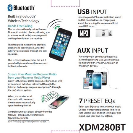 Dual Electronics XDM280BT Multimedia Detachable 3 7 inch LCD