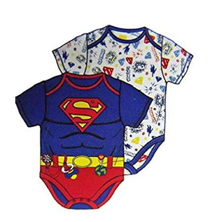DC Comics Superman Super Hero Themed Infant Bodysuit 2-Pack (18M) - Onesie Superhero