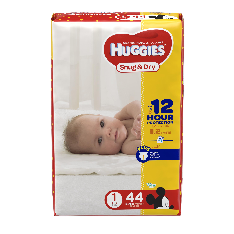 HUGGIES Snug & Dry Diapers, Size 1, 44 Diapers