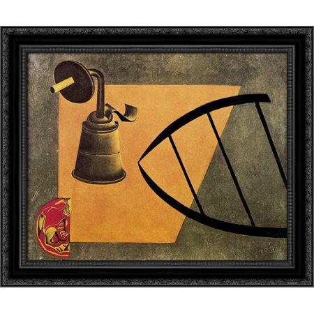 The Carbide Lamp 24x20 Black Ornate Wood Framed Canvas Art by Miro, Joan