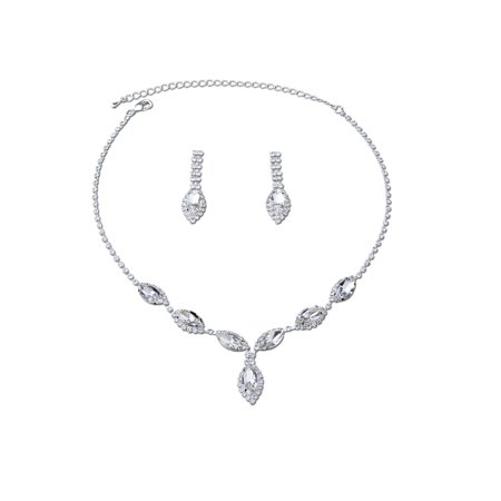 Womens Luxurious Silver Crystal Jewelry Sets for Wedding Crystal Bridal Wedding Jewelry