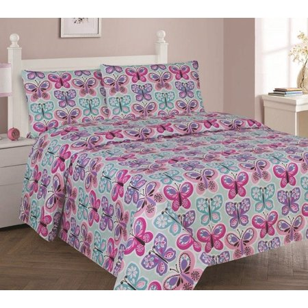 Butterfly Rubber Sheet (BUTTERFLY BLUE Full Size 4-Piece Kids Printed Microfiber Bedding Sheet Set 1 Flat Sheet, 1 Fitted Sheet, and 2 Pillowcases )