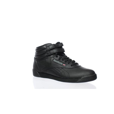 Reebok Womens Freestyle Hi Black Leather Fashion Sneakers ()