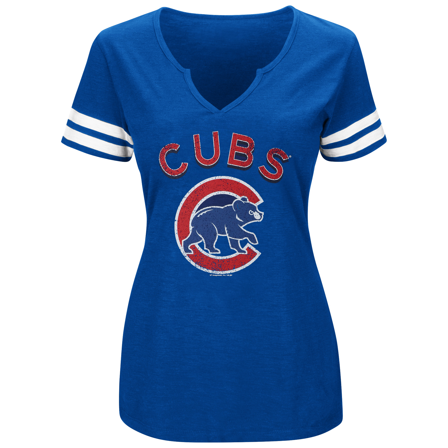 Women's Majestic Royal/White Chicago Cubs Decisive Moment V-Notch T-Shirt