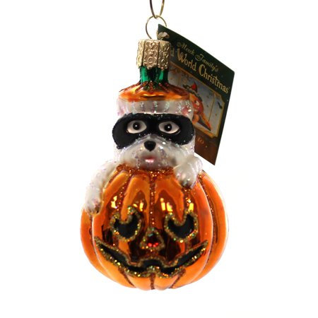 Old World Christmas WESTIE PUMPKIN Glass Halloween Dog Mask - Un Show Mas Halloween 3