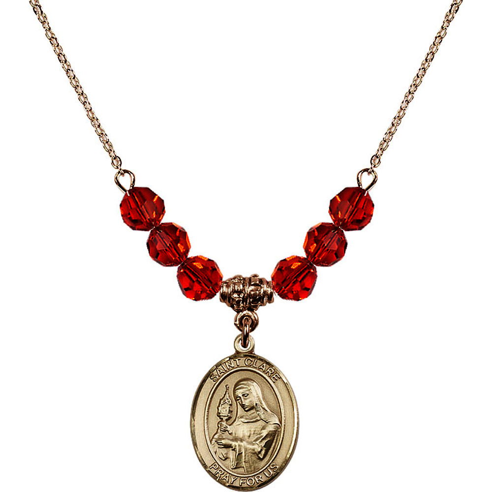 Bonyak Jewelry 18 Inch Hamilton Gold Plated Necklace w// 6mm Red July Birth Month Stone Beads and Saint Vladimir Charm