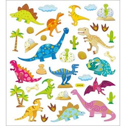 Bulk Buy: Tattoo King (6-Pack) Multicolored Stickers Patterned Dinos SK129MC-4296 NM-108615