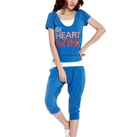 Ladies Letters Printting Decor Hoodie w Tank Top w Pants Royal Blue XS