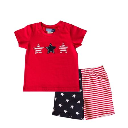 Good Lad Infant Boys Knit July 4th Short Set
