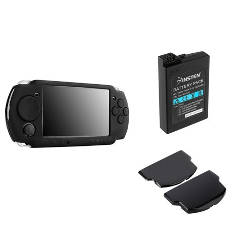 Black Silicone Skin Case + Rechargeable PSP Battery + Back Door Cover by Insten For SONY PSP 3000