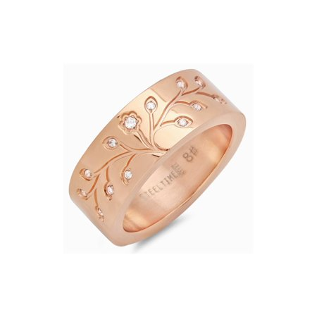 Stainless Steel Rose Gold Tone Tree of Life Men's Band Ring with CZ 8mm Wide