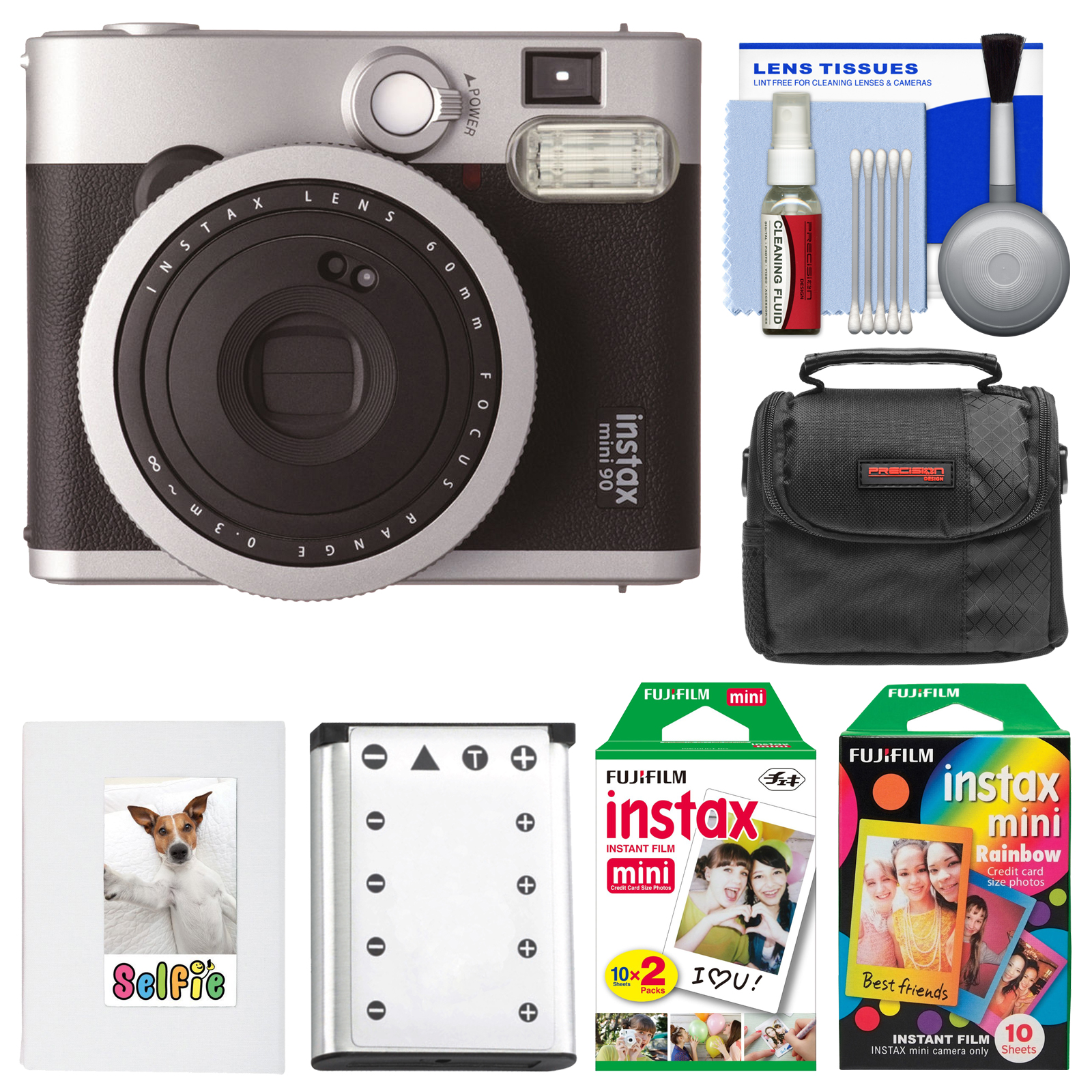 Fujifilm Instax Mini 90 Neo Classic Instant Film Camera with 20 Twin Prints & 10 Rainbow Prints + Case + Battery + Photo Album Kit
