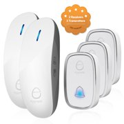 Wireless Doorbell Door Chime Kit Portable Waterproof Push Button over 900ft Long Range 4-Level Volume & Blue Light 36 Melodies to Choose 2 Plug-in Receivers & 3 Transmitters