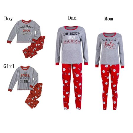 Family Matching Christmas Pajamas Set Letter Print Tops and Long Pants Homewear Outfit Set