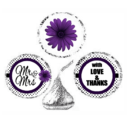 Purple Candy (216ct Purple Mr & Mrs Party Favor Hersheys Kisses Candy Decoration Stickers /)