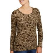 Women's Long Sleeve Printed Scoopneck T-Shirt