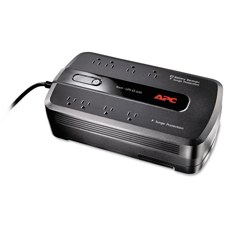 APC BE650G1 Back-UPS ES 650 Battery Backup System, 8 Outlets, 650VA, 365 J