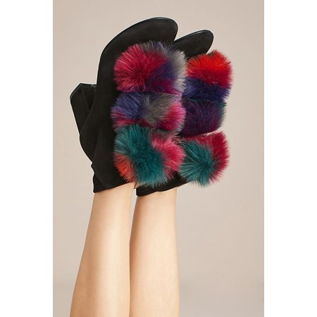 Cecelia New York Minot Fox Fur Pompom Color Block Heel Bootie (7) (Fox Fur Winter Boots)