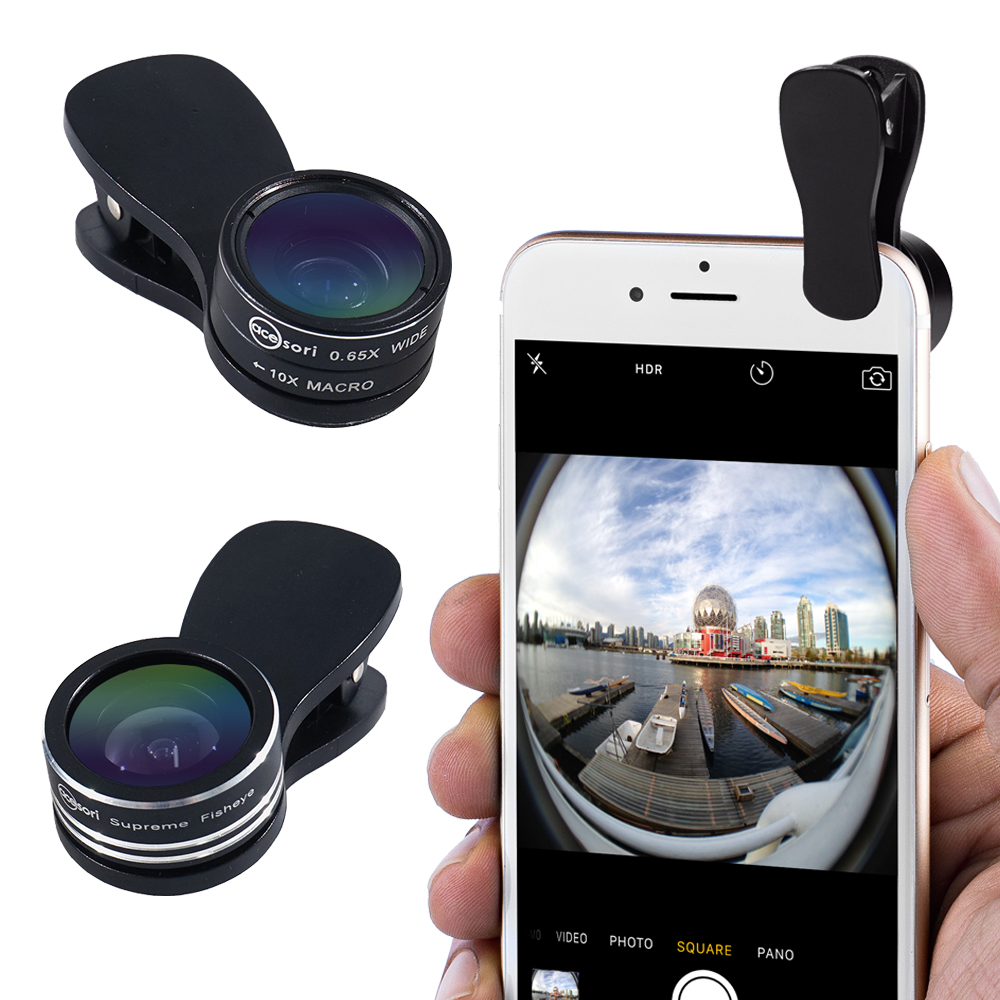 Image of Acesori LensClip Smartphone Clip-On Lens Kit w/ Fisheye, Wide Angle & Macro Lenses for iPhone & Android