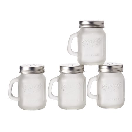 Mason Craft and More, 4 Ounce Round Glass Salt and Pepper with Handle and Silver Metal Lid, Frosted Clear, Set of 4
