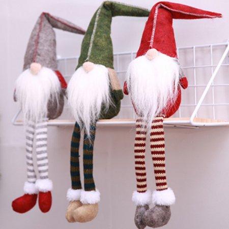 Swedish Christmas Santa Claus Tomte Long Leg Gnome Plush Doll Handmade Home Decor Collectible Dolls Desktop Ornament ()