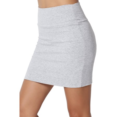 TheMogan Junior's High Waist Double Layer Stretch Jersey Bodycon Mini Skirt