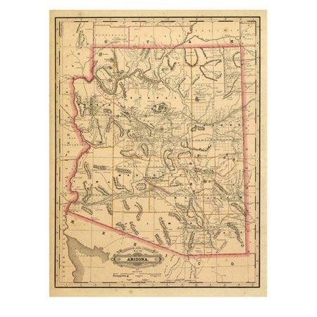 1887, Arizona State Map, United States Print Wall Art Arizona Wall Map