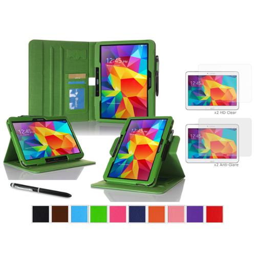 """rooCASE Samsung Galaxy Tab 4 10.1 SM-T530 Tablet Case - Dual View Multi-Angle Stand Cover Pen Stylus with 4-Pack (2 Anti-Glare Matte & 2 HD Clear) Screen Protectors for Tab4 10"""", Green"""