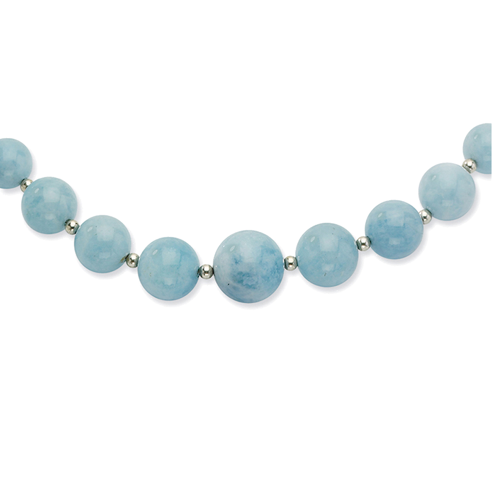 """Lex & Lu Sterling Silver Beaded & 6-14mm Graduated Aquamarine Necklace 18"""" by"""